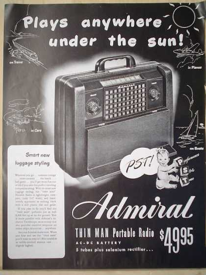 Admiral Thin Man portable radio Baby Theme (1947)