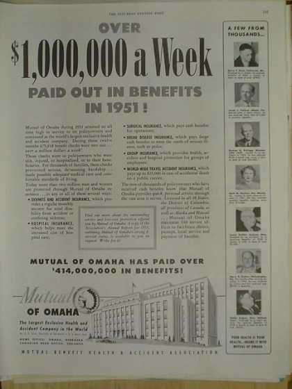 Mutual of Omaha over $1,000,000 a week paid out in benefits in 1951 (1952)