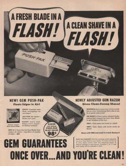Gem Flash Razor Blades and Razor (1949)