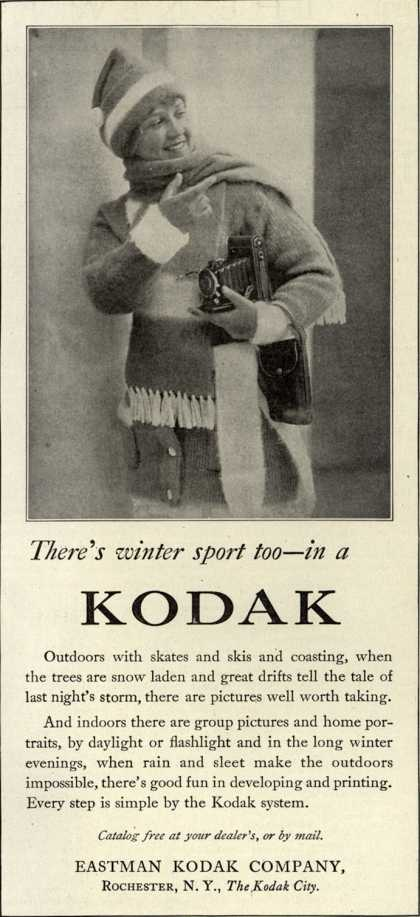 Kodak – There's winter sport too – in a Kodak (1917)