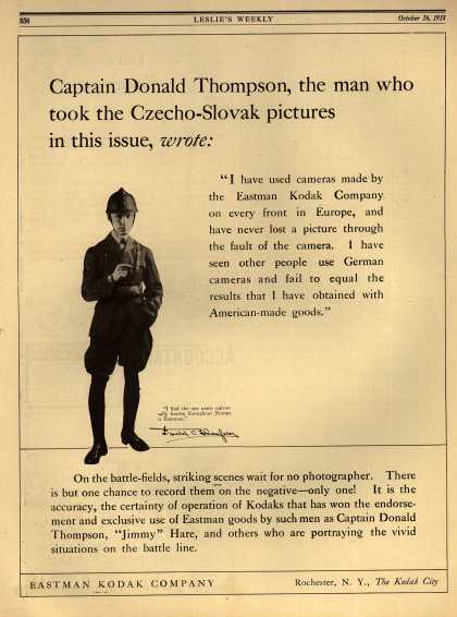Kodak – Captain Donald Thompson, the man who took the Czecho-Slovak pictures in this issue, wrote: (1918)