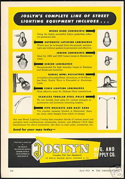Joslyn Lighting Light Luminaries Poles Masts (1951)