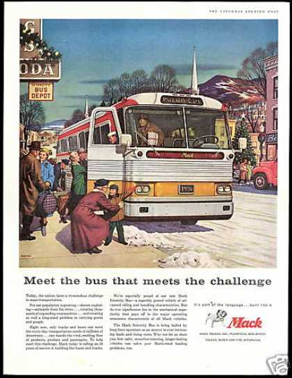 Bus Depot Christmas Mack Intercity Bus Art (1958)