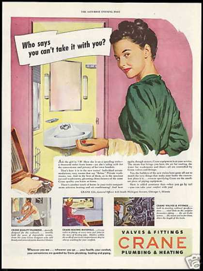 Crane Plumbing Valves Train Bathroom (1946)