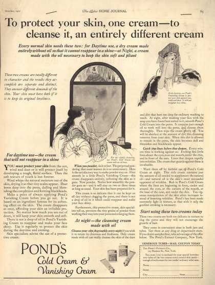Pond's Extract Co.'s Pond's Cold Cream and Vanishing Cream – To protect your skin, one cream – to cleanse it, an entirely different cream (1921)