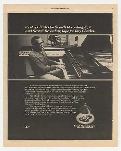Ray Charles Scotch Recording Tape Photo (1977)