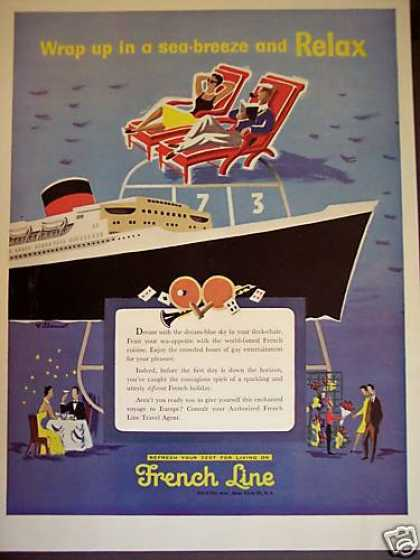 French Line Cruise Ship Art Travel (1955)