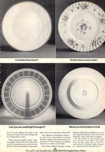 Minton English Bone China 4 Patterns (1964)