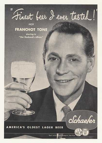 Franchot Tone Schaefer Lager Beer Photo (1947)