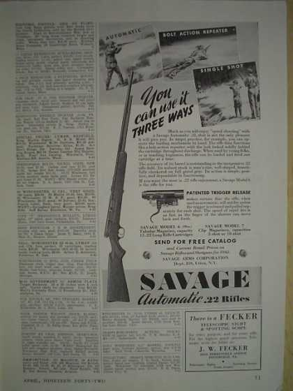 Savage Automatic 22 Rifles Use it 3 ways (1942)
