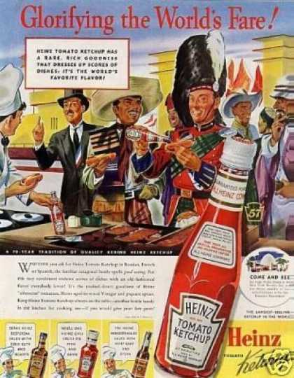 "Heinz Ketchup Ad ""Glorifying the World's Fare... (1939)"