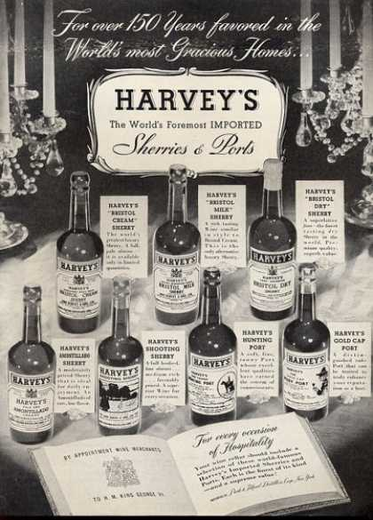 Harvey's Sherries Ports Bottles (1952)