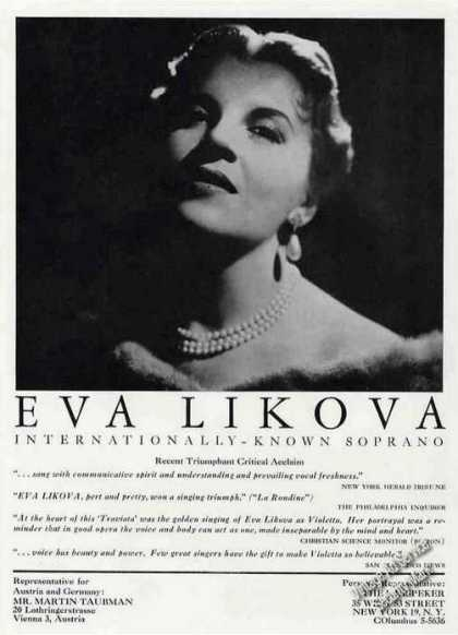 Eva Likova Photo Soprano Booking (1961)