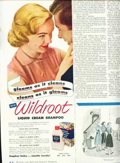 Wildroot Liquid Cream Shampoo 1/2 Page (1952)