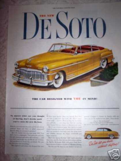 De Soto Yellow Convertible Car (1949)