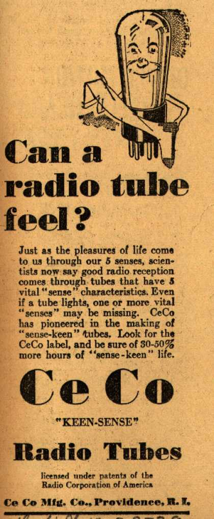 CeCo Manufacturing Company's Radio Tubes – Can a Radio Tube Feel? (1929)