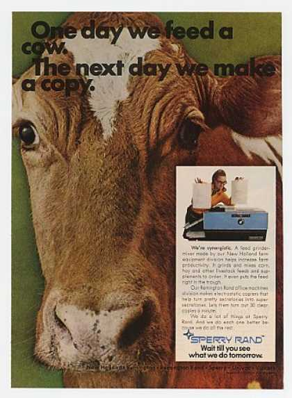 Feed a Cow Make a Copy Sperry Rand Photo (1969)
