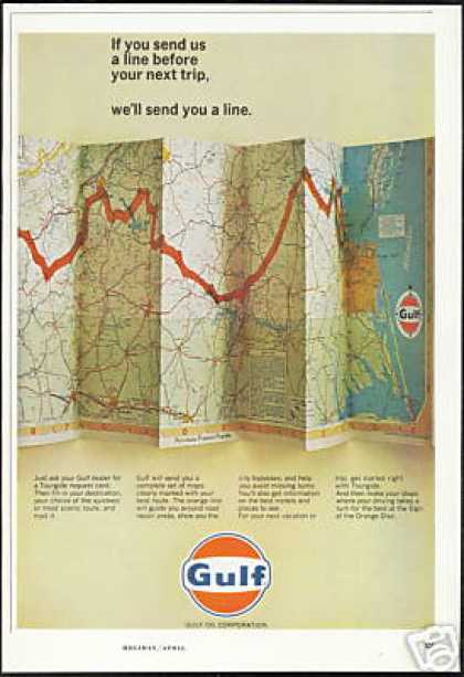 Gulf Gas Station Tourgide Card Travel Road Map (1966)