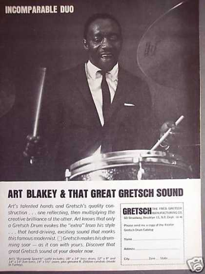 Drummer Art Blakey Photo Gretch Drums (1964)