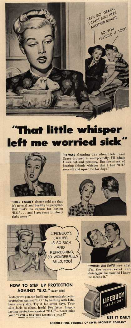 "Lever Brothers Company's Lifebuoy Health Soap – ""that little whisper left me worried sick"" (1947)"