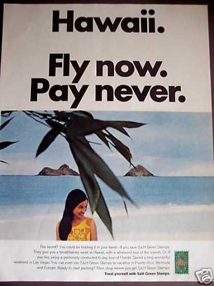 Fly To Hawaii Free Travel Vacation Green Stamps (1966)