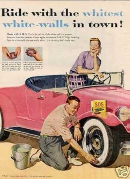 S.o.s. Scouring Pads Ad Man Cleaning White-walls (1955)