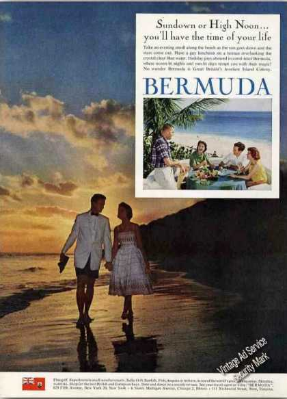 Beautiful Beach at Sunset Bermuda Travel (1962)