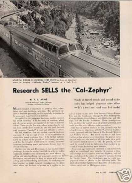"""Research Sells the Cal-zephyr"" Article/cb&q (1955)"