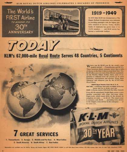 KLM Royal Dutch Airline's K.L.M. Royal Dutch Air Lines – Today, KLM's 67,000-mile Royal Route Serves 48 Countries, 5 Continents (1949)