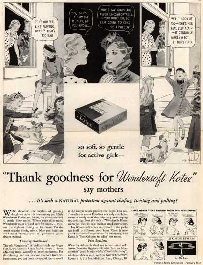 "Kotex Company's Sanitary Napkins – ""Thank goodness for Wondersoft Kotex"" (1935)"