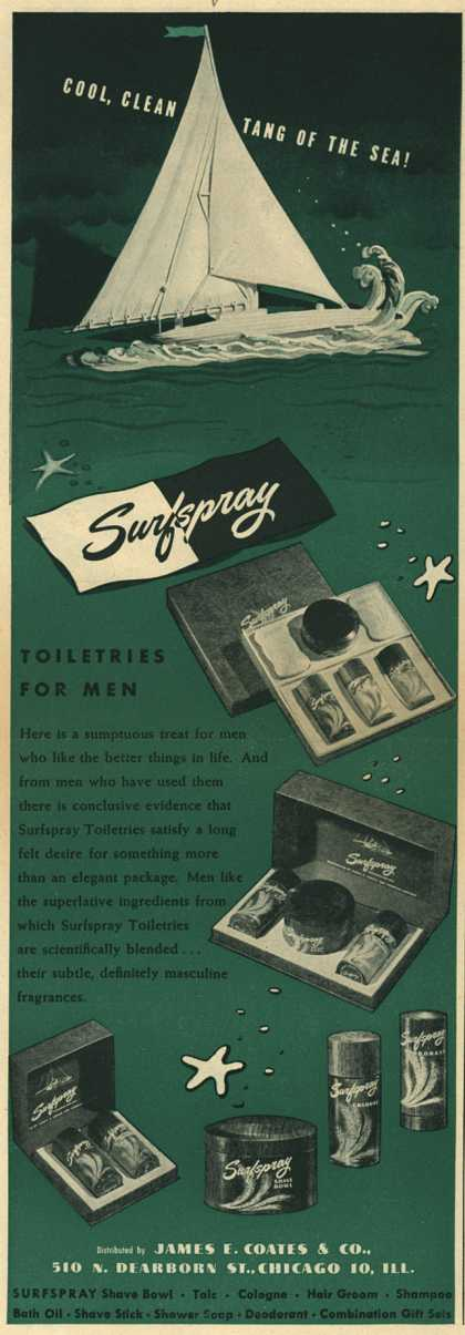 James E. Coates & Co.'s Surfspray Toiletries – Cool, Clean Tang Of The Sea (1945)