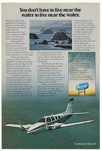 Beechcraft Baron 58 Airplane Fly Over Water (1975)