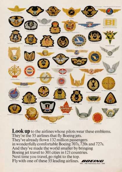 Boeing Different 55 Airlines Patches (1966)
