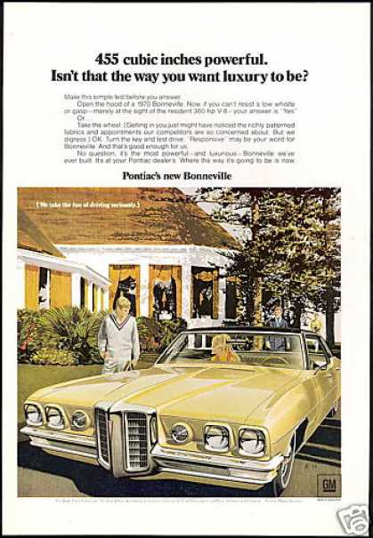 Yellow Pontiac Bonneville 4dr Car VK AF Art (1970)