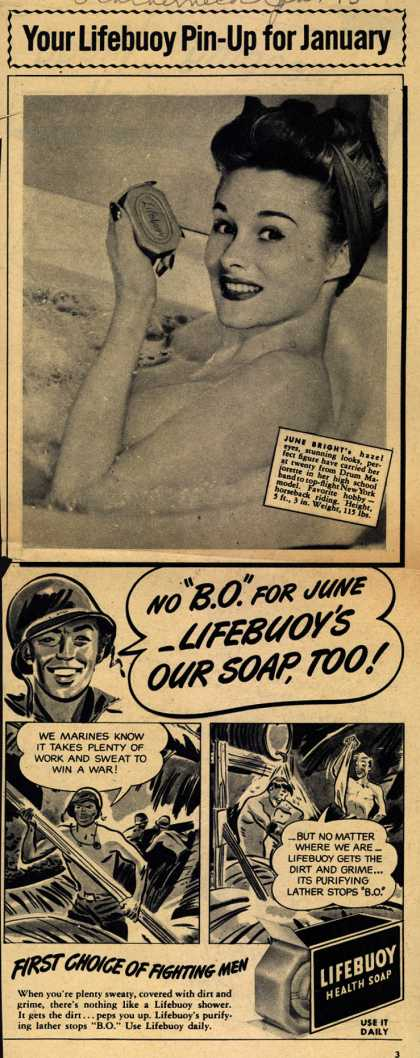 Lever Brothers Company's Lifebuoy Health Soap – Your Lifebuoy Pin-Up for January (1945)