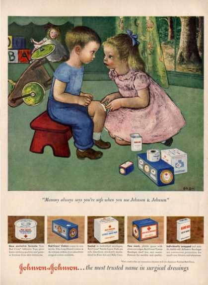 Johnson + Johnson Little Boy Girl Play Nurse Ad T (1949)