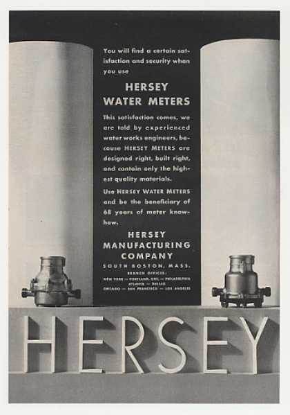 Hersey Water Meters Satisfaction Security (1955)