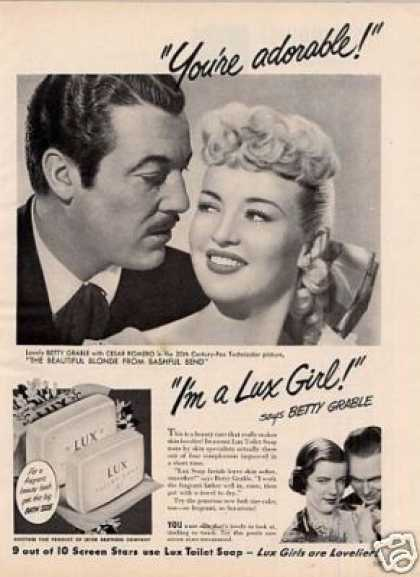 Lux Soap Ad Betty Grable/cesar Romero (1949)