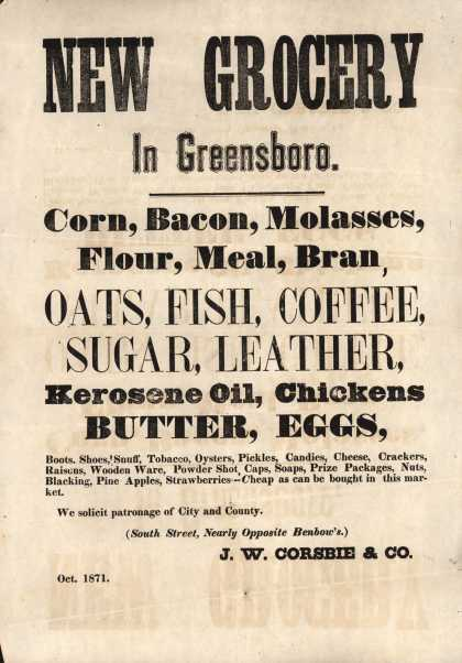 J. W. Corsbie & Co.'s daily provisions – New Grocery (1871)