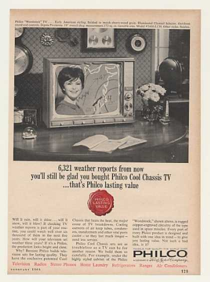 Philco Woodstock TV Television Weather Report (1964)