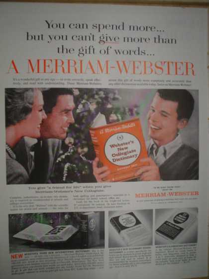 Merriam Webster Collegiate Dictionary The gift of words (1961)