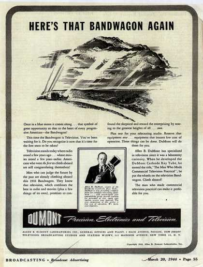 Allen B. DuMont Laboratorie's Corporate ad – Here's That Bandwagon Again (1944)