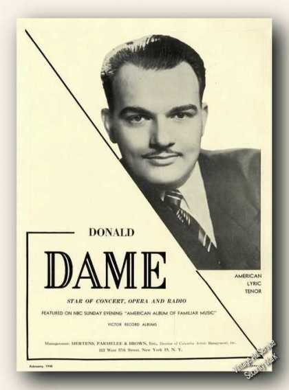 Donald Dame Photo Opera Ad Music (1948)