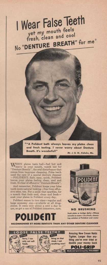 I Wear False Teeth Polident Denture Cleane (1949)