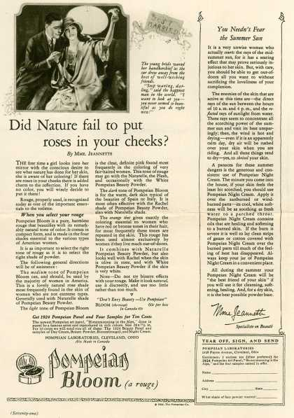 Pompeian Bloom's rouge – Did Nature fail to put roses in your cheeks? (1924)
