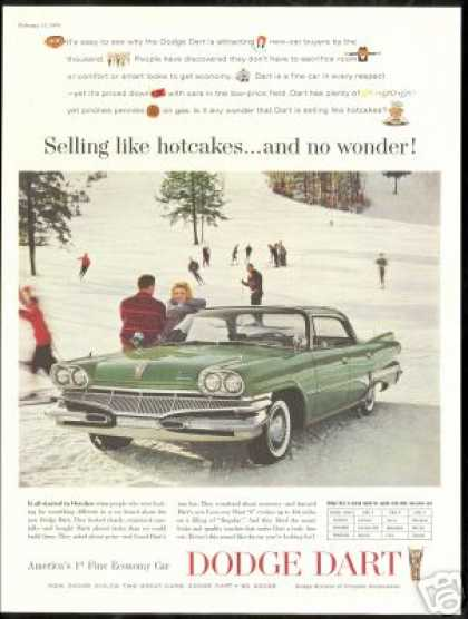 Green 4dr Dodge Dart Ski Slopes Skier Vintage (1960)
