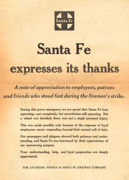 Santa Fe Railway – Santa Fe Expresses its Thanks (1950)