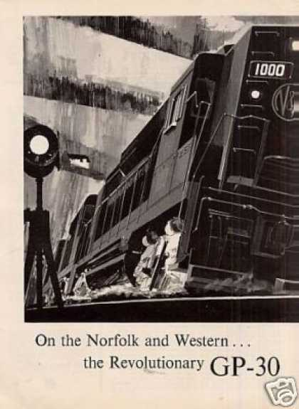 Gm/emd Locomotive Ad Norfolk & Western Gp-30's (1963)