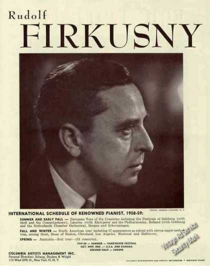Rudolf Firkusny Photo Pianist Booking (1959)