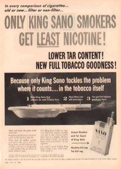King Sano Cigarettes – Less Nicotine (1958)
